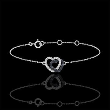 Brăţară aur alb de 9K diamante albe şi diamante negre - Inimi Complice