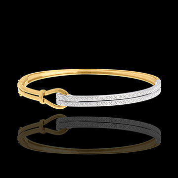Brăţară fixă Agrafă pavată - 54 diamante de 0.32 carate - aur alb şi aur galben de 18K