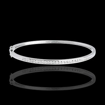 Brăţară fixă baretă - aur alb de 18K - 0.75 carate - 25 de diamante
