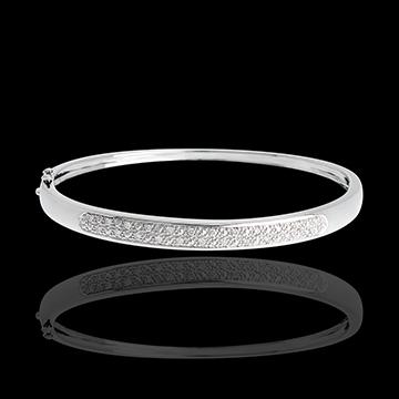 Brăţară fixă diorama baretă de diamante - aur alb de 18K - 0.25 carate - 23 de diamante