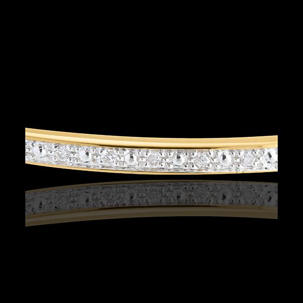 Brăţară fixă diorama baretă de diamante - aur galben de 18K - 11 diamante