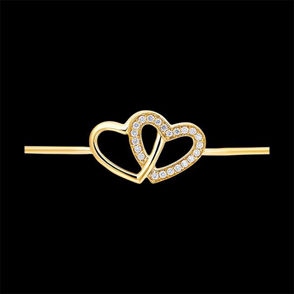Brățară Fixă Secret Prețios – Inimi Îndrăgostite - aur galben de 9 carate și diamante