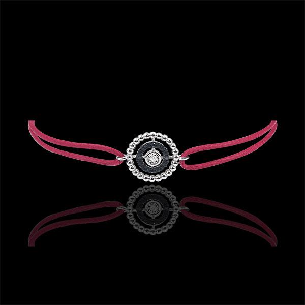 Brăţară Floare de Sare - cerc - aur alb de 9K şi diamante negre - cordon roşu