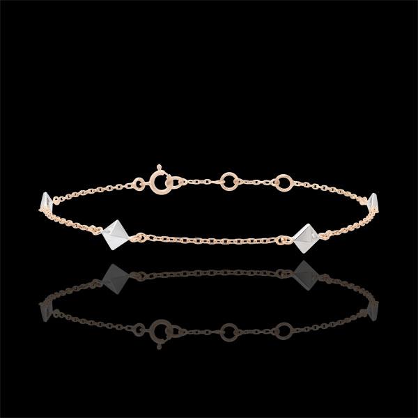 Brăţară Geneză - Diamante Brute - aur alb şi aur roz de 18K