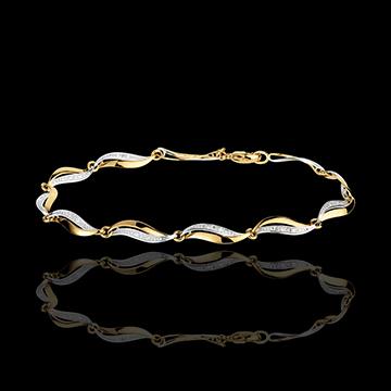 Brăţară Împletitură - 22 diamante - aur alb şi aur galben de 18K