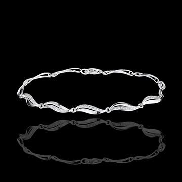 Brăţară Împletitură aur alb de 18K - 22 diamante