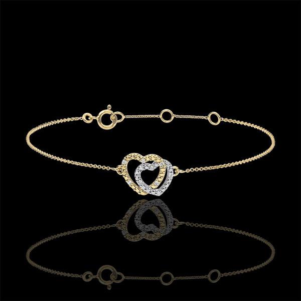 Brăţară Inimi Complice - aur alb şi aur galben de 9K şi diamante