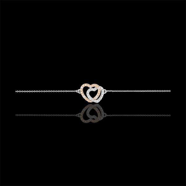 Brăţară Inimi Complice - aur alb şi aur roz de 9K şi diamante