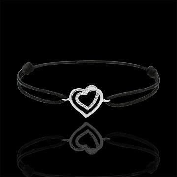 Brăţară Inimi Îmbrăţişate aur alb de 9K şi diamante - cordon negru