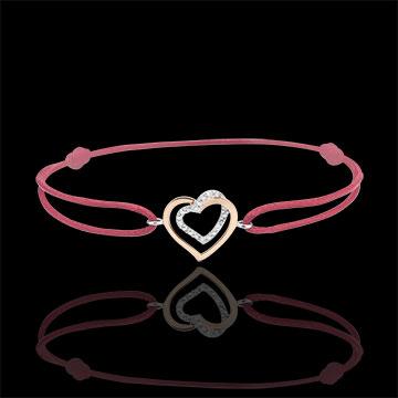 Brăţară Inimi Îmbrăţişate diamante - cordon roşu - aur alb şi aur roz de 9K