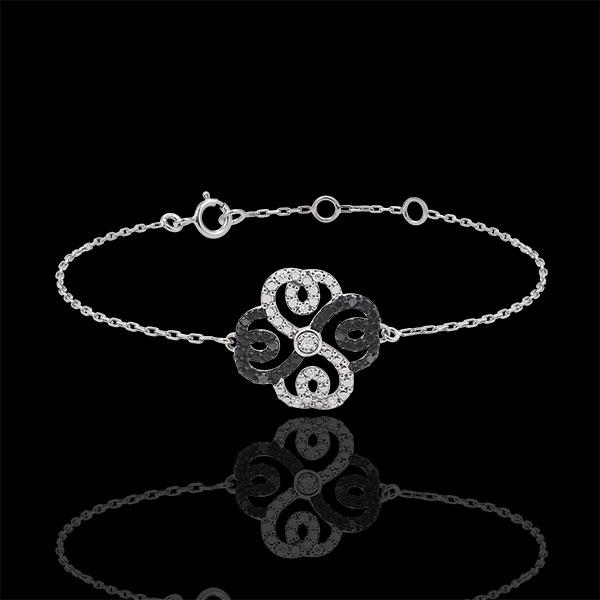 Brăţară Solitaire Prospeţime - Trifoi Arabesc - aur alb de 9K diamante albe şi diamante negre