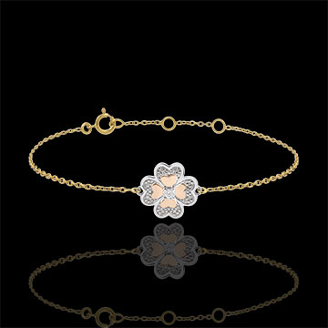 Brăţară Solitaire Prospeţime - Trifoi Strălucitor - 3 nuanţe de aur şi diamante - trei nuanţe de aur de 9K