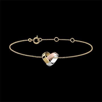 Brazalete Corazón Plegado - 3 oros de 18 quilates