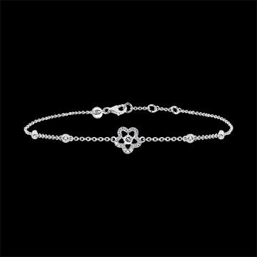 Brazalete Frescura - Anémona- oro blanco de 9 quilates y diamantes