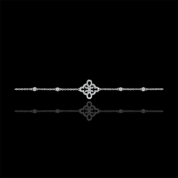 Brazalete Frescura - Flor - oro blanco de 9 quilates y diamantes