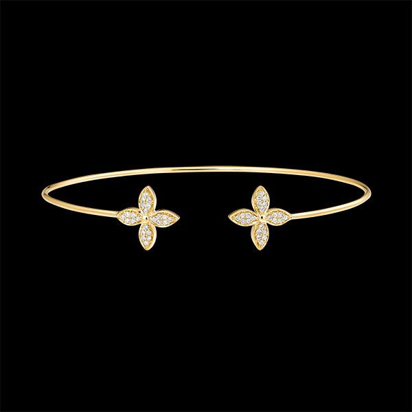Brazalete Junco Abierto Eclosión - Doble Suerte - oro amarillo de 9 quilates y diamantes