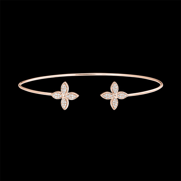 Brazalete Junco Abierto Eclosión - Doble Suerte - oro rosa de 9 quilates y diamantes