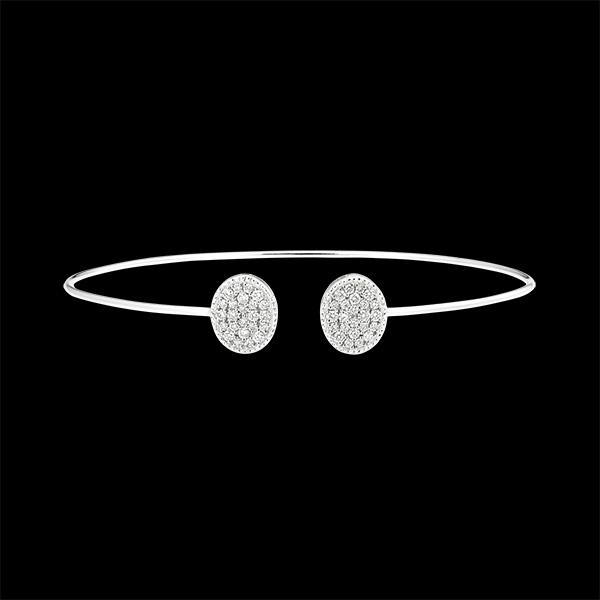 Brazalete Junco Abierto - Tu y Yo Elipse - oro blanco de 9 quilates y diamantes