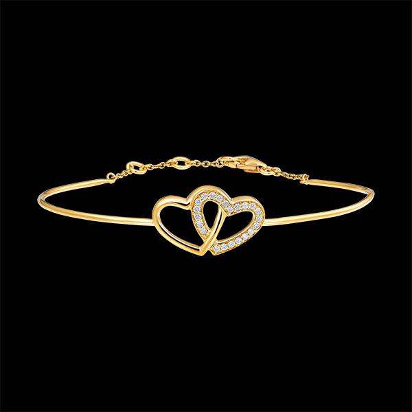 Brazalete Junco Precioso Secreto - Corazones Enamorados - oro amarillo de 9 quilates y diamantes