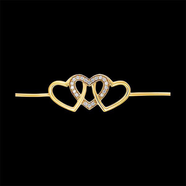 Brazalete Junco Precioso Secreto - Corazones Entrelazados - oro amarillo de 9 quilates y diamantes