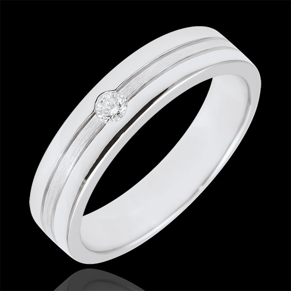 Brushed Gold Star Diamond Wedding Band - Small model