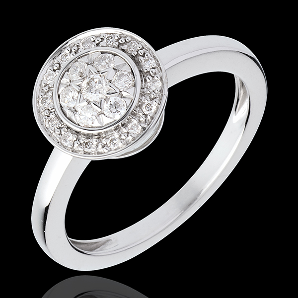 Button ring white gold paved