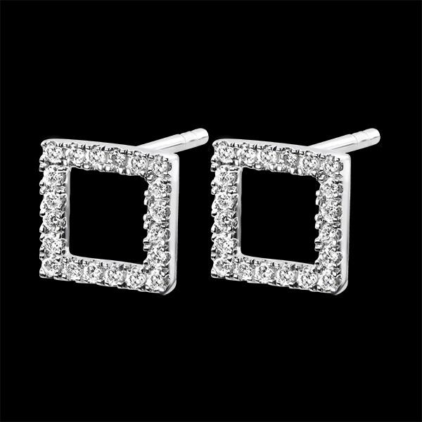 Cercei Abundenţă - Cadru fermecat - aur alb 18K şi diamante
