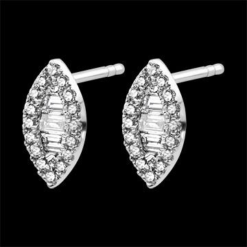 Cercei Abundenţă - Privind în sus - aur alb 9K şi diamante