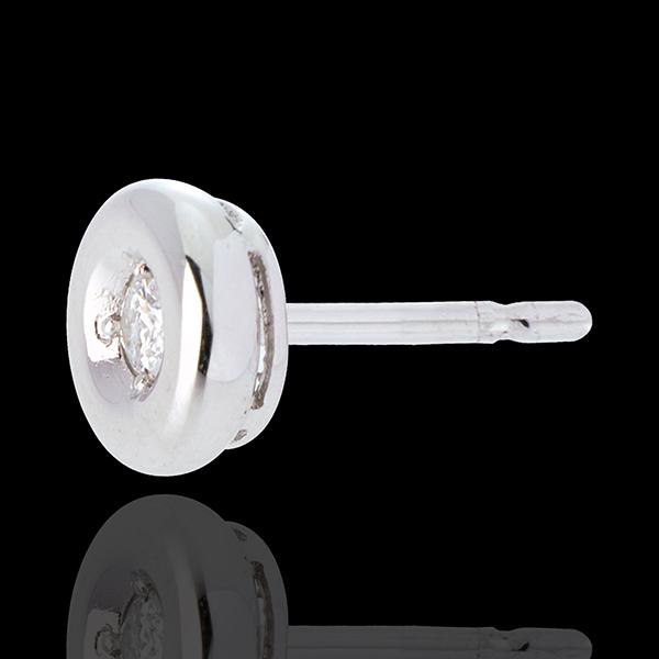 Cercei Caliciu cu diamante - cercei cu şurub din aur alb de 18k