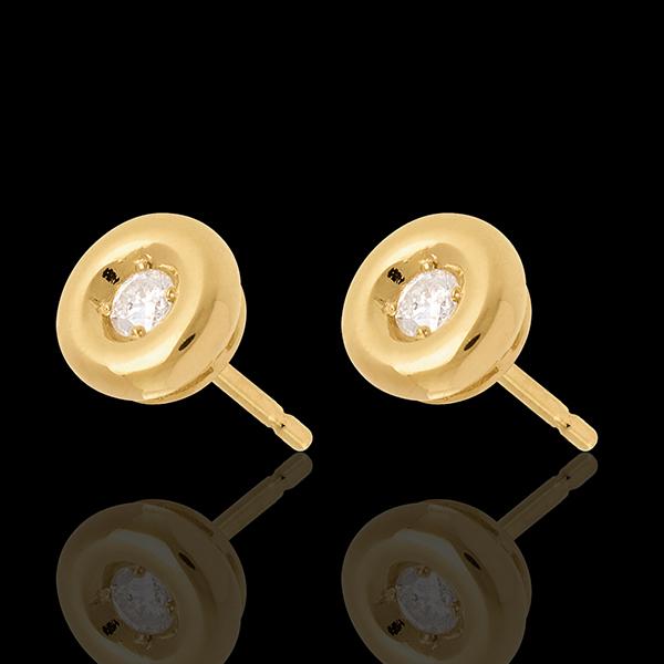 Cercei caliciu cu diamante - cercei cu şurub din aur galben de 18k