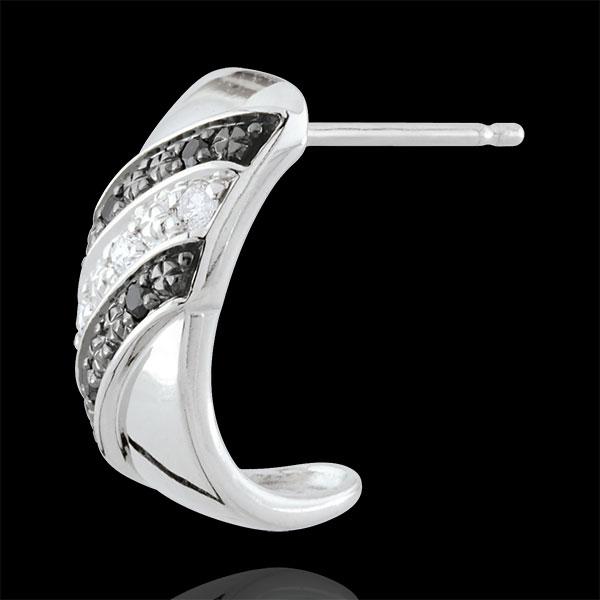 Cercei creole Clar Obscur - Crepuscul - diamante negre - aur alb de 18K