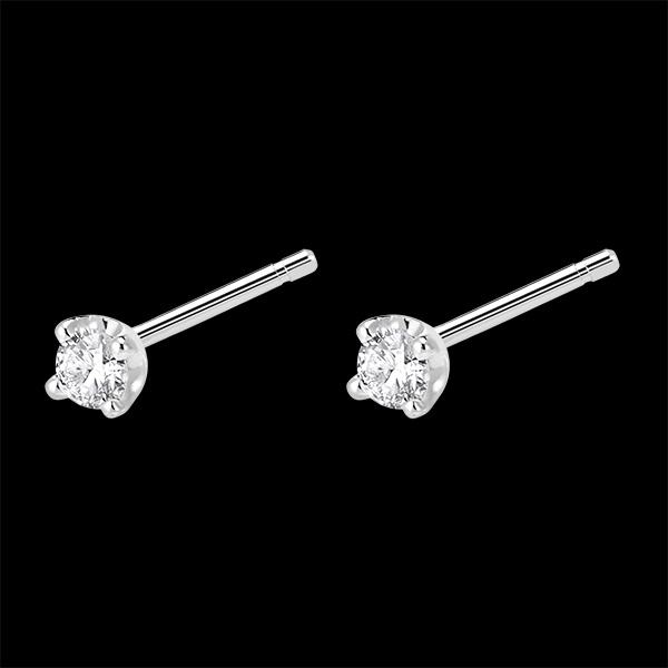 Cercei cu diamante - cercei cu şurub din aur alb de 18k 0.15 carate