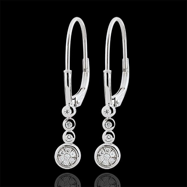 Cercei cu diamante Irissa - aur alb de 9K