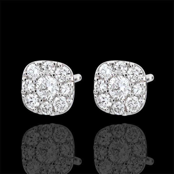 Cercei cu diamante Lavia - aur alb de 9K