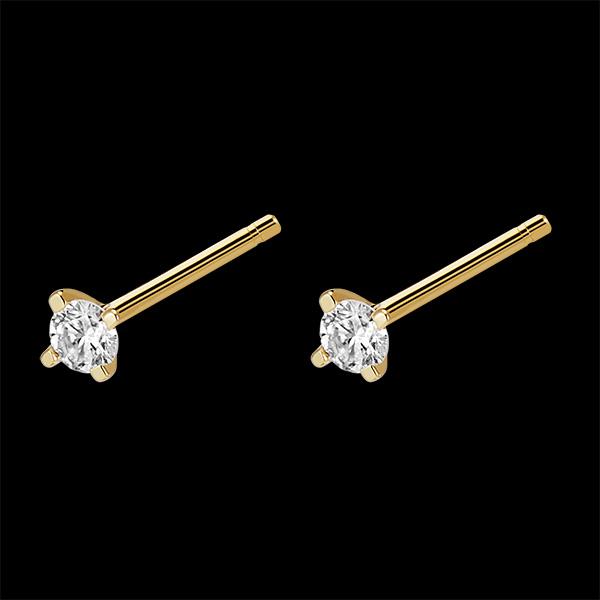Cercei cu diamante - Strălucire - cercei cu șurub din aur galben de 18 carate și diamante