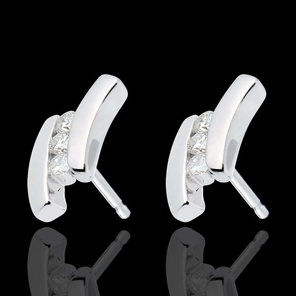 Cercei Cuib Preţios - Ghilimele - aur alb de 18K - 6 diamante