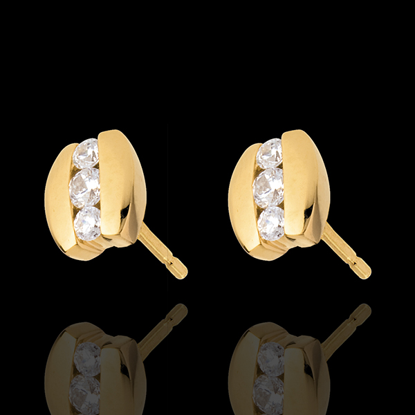 Cercei Cuib Preţios - Trilogie Paranteză - aur galben de 18K - 0.23 carate - 6 diamante