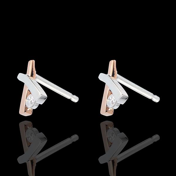 Cercei Cuib Preţios - Umbră variantă - aur alb şi aur roz de 18K