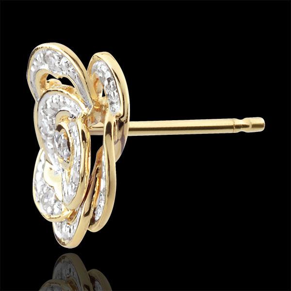 Cercei Înflorire - Trandafir Dantelat - aur alb şi aur galben de 9K şi diamante