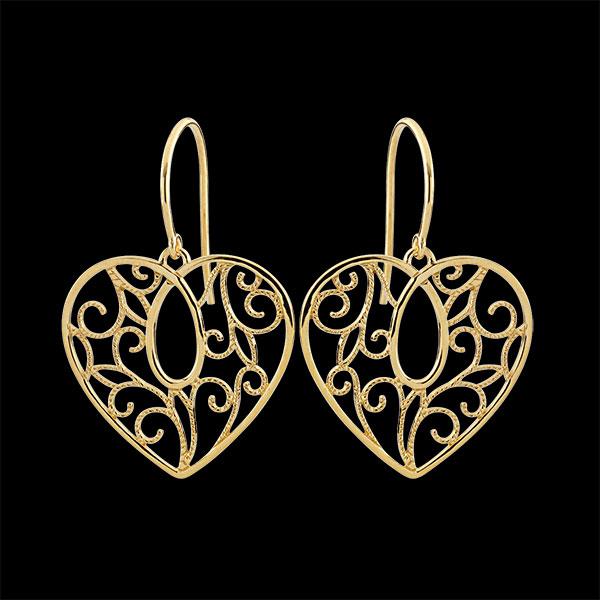 Cercei Inimă arabescă - aur galben de 9K