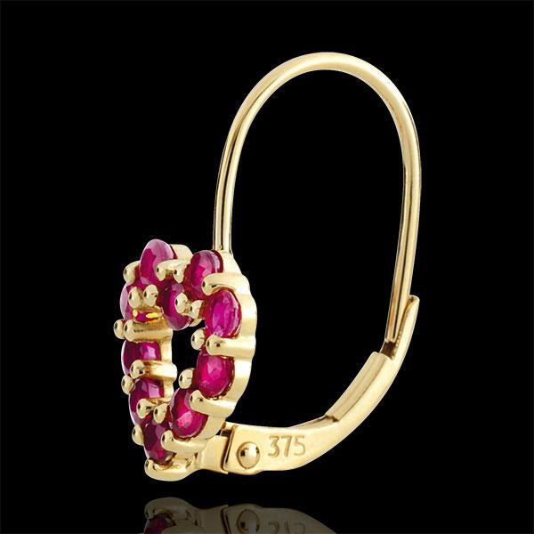 Cercei Inimă Rosie - rubine - aur galben de 9K