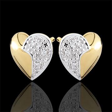 Cercei Inimi în valuri - aur alb şi aur galben de 9K