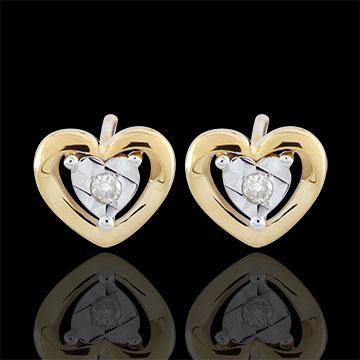 Cercei Inimi Micuţe - aur galben de 9K