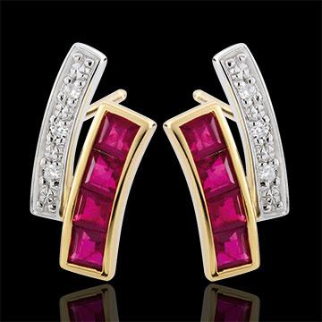 Cercei Kiona - rubine şi diamante - aur alb şi aur galben de 9K