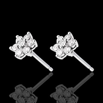 Cercei lotus pavaţi - 0.33 carate - aur alb de 18K