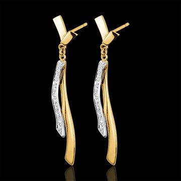 Cercei Maeva - aur alb şi aur galben de 18K