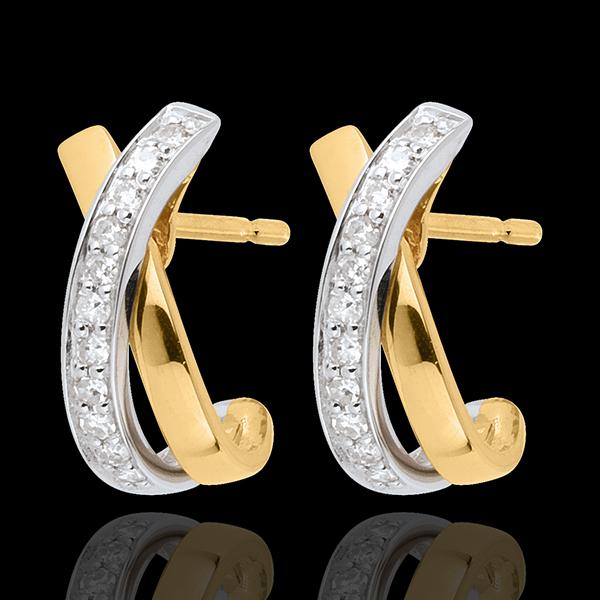 Cercei Noduri tandem pavaţi cu 22 diamante - aur alb şi aur galben de 18K