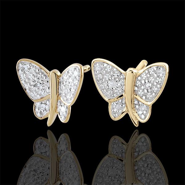 Cercei Plimbare Imaginară - Fluture Cântăreţ - 2 nuanţe de aur - aur alb şi aur galben de 9K