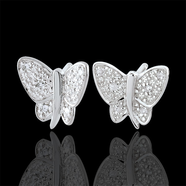 Cercei Plimbare Imaginară - Fluture Cântăreţ - aur alb de 9K