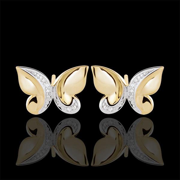 Cercei Plimbare Imaginară - Fluture Cascadă - aur alb şi aur galben de 9K şi diamante